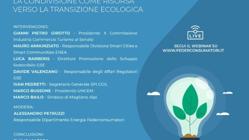 COMUNITÀ ENERGETICHE: WEBINAR SULLA TRANSIZIONE ECOLOGICA