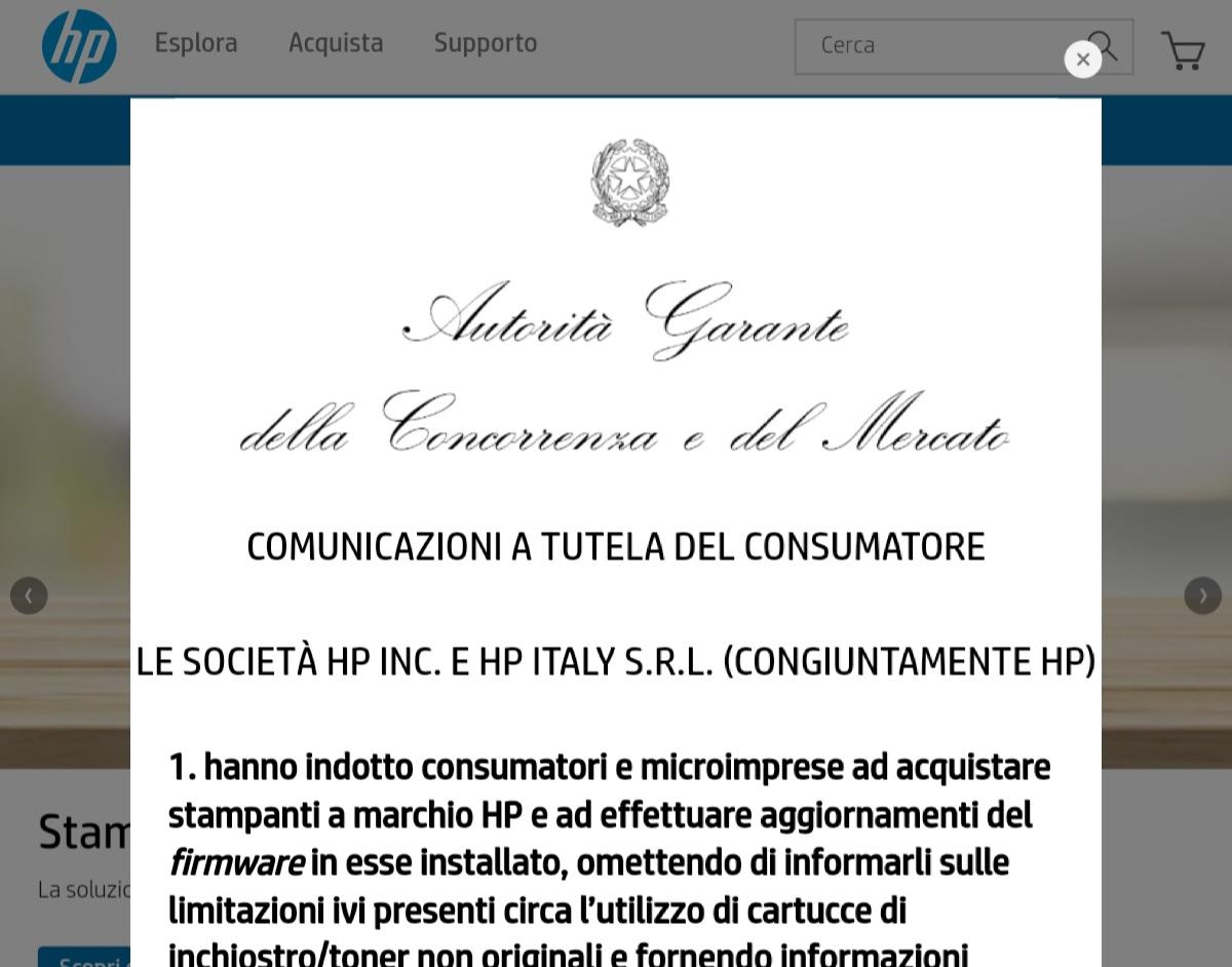 DOPO LA MULTA, HP PUBBLICA UNA NOTA IMPOSTA DALL'AGCOM