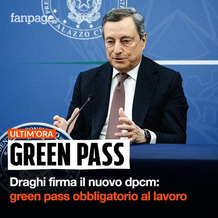 GREEN PASS OBBLIGATORIO PER I DIPENDENTI DAL 15 OTTOBRE